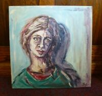 My Shadow Pea Jayne Restall RCA Painting Oil Painting canvas Welsh Art Portrait
