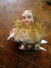 Antique porcelain head doll -clip -Christmas tree decoration /Germany