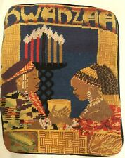 VTG KWANZAA Cross Stitch Needlepoint Throw pillow Cover only 15x11.5 Wool Velvet