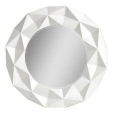 Premier Wall Mirror, White High Gloss, Round Modern Design 3D Effect