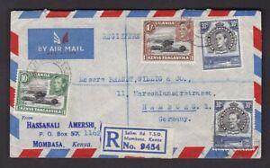 KUT East Africa Kenya 1952 Hassanali Amershi Reg. air mail envelope to Germany