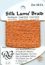 Rainbow Gallery Silk Lame' Braid - 18ct SL30 Orange Silk Rayon Metallic 10yds