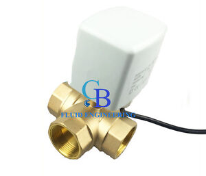 "New G1-1/2"" DN40 Brass 3 Way 220VAC Motorized Ball Valve L Type Electrical Valve"