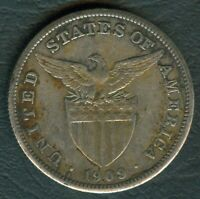1909-S US Philippines 1 Peso United States of America Silver Coin - Stock #C4