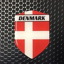 "Denmark Proud Shield Flag Domed Decal Emblem Sticker Car 3D 2.3""x 3.3"" Danmark"