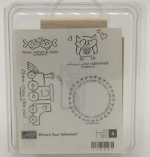 Stampin Up Whoo's Your Valentine Stamp Unmounted Set of 4 Owl Train Fish