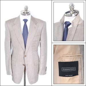 $5000 NWT STEFANO RICCI Gray Herringbone Silk Cashmere Sport Coat 42 L (EU 52)