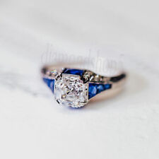 Engagement Ring 925 Sterling Silver Sapphire 1.25Ct Off White Asscher Moissanite