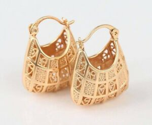 """9ct 9K Yellow """"GOLD FILLED"""" Ladies Lovely Creole HOOP EARRINGS 25mm 2.5cm +pouch"""