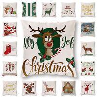 Christmas Pillow Case Deer Pattern Cotton Linen Throw Cushion Cover Home Decor