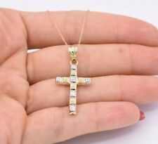 Reversible Cross Textured Two-Tone Pendant Necklace Real 10K Yellow White Gold