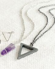 Geometric Gunmetal Triangle Spike Necklace-Boho Hippy Layering Vintage Jewellery