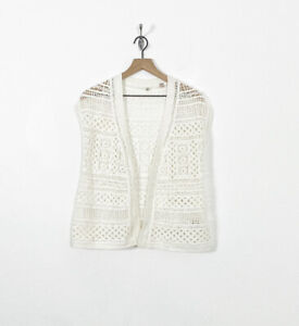 Knitted & Knotted Anthropologie Crochet Open Front Cardigan Vest Size S Boho