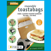 8x 50 Times Reusable Toastabags No Mess Toaster Tostie Sandwich Bags