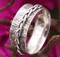 """Size Q"""" 925 Silver Meditation Spinner Ring, Anxiety Spinning Wide Band Ring 103"""