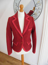 JOULES WOOL BLAZER SIZE 8 RED TWEED HERRINGBONE STYLE GRANDSTAND BEAUTIFUL VGC