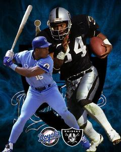 Oakland Raiders Lithograph print of Bo Jackson Football and baseball 8 x 10