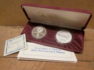 1991 FIRST MAN IN SPACE 30th ANNIVERSARY COIN & MEDAL SET, 90% Silver w/ COA