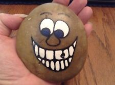 OOAK! HANDPAINTED RIVER ROCK * HAPPY FACE *SIGNED & # *BY MARCUS & MISSY #2