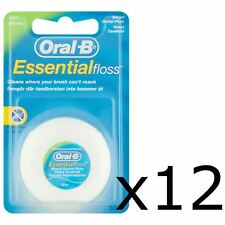 12 Oral-B Essential Dental Floss Mint Waxed 50m Medium Removes Plaque & Bacteria