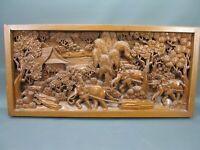 Grande Vecchio Intagliato Elefanti Rilievo 3D Legno Correva 102 CM X 49 Massello