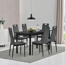 [en.casa]® Esstisch mit 6 Stühlen schwarz/grau 140x60cm Küchenstuhl mit Griff