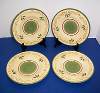 "Home Victorian Holly 4 Salad Plates (8"") Christmas Tan Scrolls Green Trim NICE"
