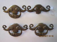 4 Fantastic Antique Large Solid Brass Ornate Heavy Cast Drawer Pulls/ Handles
