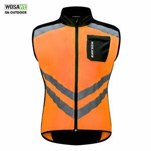 Men's Reflective Cycling Vest Bike Bicycle Waistcoat Windproof Breathable Jacket