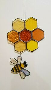 Stained Glass Bee Hive Sun Catcher