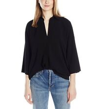 Vince Womens Oversized Blouse Size M  Collared Draped Fit Top Black V388911695