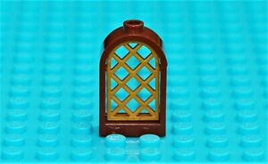 LEGO BROWN WINDOW ROUNDED TOP FRAME + GOLD LATTICE GRILLE PANEL PART NO 30044