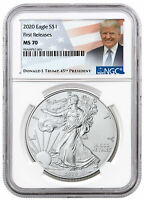 2020 1 oz American Silver Eagle $1 Coin NGC MS70 FR Trump Label SKU60474