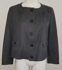 J Crew Charcoal Gray 100% Wool Cropped Blazer/Jacket Size 6 Career Lined
