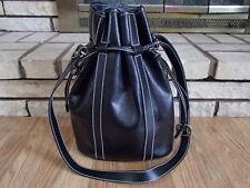 Vtg LANCEL France Black Textured Leather Drawstring Crossbody Bucket Bag Purse