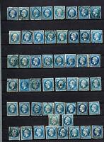 France : 50 exemplaires du no 14 pour nuances de bleu , avec très bien margés ,