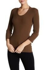 WOLFORD CAPRICE 77% wool MERINO RIB 3/4 sleeve PULLOVER in BISON brown S small
