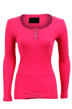 Womens Diamond Button Fitted Ribbed Long Sleeve Top Ladies Tshirt Size 8- 14 Fuschia 12 (l)