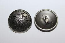 10 Metallknöpfe, silberfarben, ca. 23 mm Durchmesser, Edelweiß