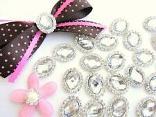 "10 BIG 1"" Crystal Rhinestone Craft Jewel/Bead/Bow/Silver Flatback/Decor E73-Oval"