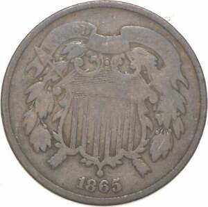 **TWO CENT** 1865 US TWO 2 Cent Piece First Coin with In God We Trust Motto *383