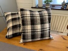 Tartan, Check, Cushions X2, Black/ Cream, 45x45cm
