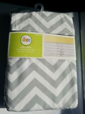 "New Circo Crib Skirt Standard size 14"" drop Gray white chevron zigzag boy girls"