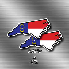 "2x North Carolina Flag Map Shape 5""w printed vinyl decal sticker State Pride NC"