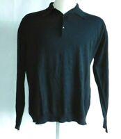 John Smedley Light Knit Long Sleeve Polo Sea Island Cotton sweater Black Men's L