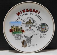 MISSOURI Show Me State Souvenir Plate Japan Made Mule Truman Library Museum Seal