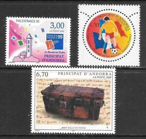 ANDORRA (Fr) - 3 x MNH Singles - 1999 Issues.
