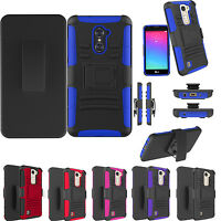 For LG Phone - Heavy Duty Dual Layer Case Cover with Clip Holster & Kickstand