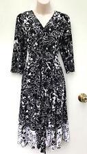 DAVID LAWRENCE Black & White Mono Floral Waist Tie Dress sz M/12 NWT Rrp $199.00