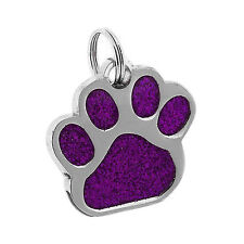 GLITTER PAW ENGRAVED DOG ID NAME TAG DISC PERSONALISED PET CAT IDENTITY TAGS